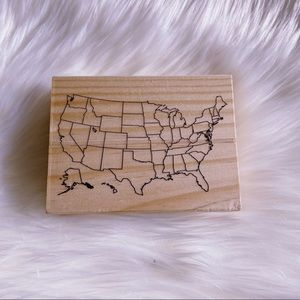 New Map of USA Wooden Stamp